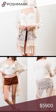 ✨COMING SOON✨ Super chic❣️Hippie style Boho Fringe Cardigan with lace detailing in a stunning Ivory color💕 PERFECT FOR SUMMER AND UPCOMING FESTIVALS☀️ Very comfortable loose fit😌 self: 100% rayon Contrast: 60% nylon 40% polyester. Like to get notified when they are available👍🏼 Comment ⬇️ to reserve yours now🎉 April Spirit Sweaters Cardigans
