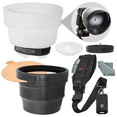 The Lightsphere is compatible with most flashes, including large and powerful units, and features a strap with hook-and-loop fasteners, that quickly attach and remove the diffuser. Professional Camera, Camera Straps, Kit, Diffuser, Pro Camera, Spotlight, Filter, Shots, Wallpaper