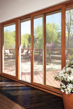 sliding french doors - Marvin Windows and Doors Photo Gallery - Wooden Sliding Doors, Sliding French Doors, French Doors Patio, Sliding Glass Door, Wooden Patio Doors, Wood Patio, Big Windows, House Windows, Windows And Doors
