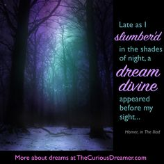 """""""Late as I slumber'd in the shades of night, a dream divine appeared before my sight..."""" More at TheCuriousDreamer.com . #quotes #dreams #dreammeaning #discover #knowyourself"""