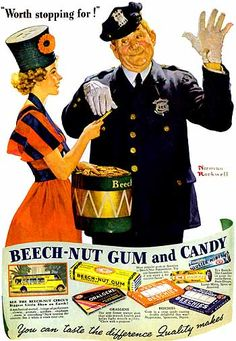 """Beech nut """"Worth Stopping For"""" 1937 advertisement by Norman Rockwell"""