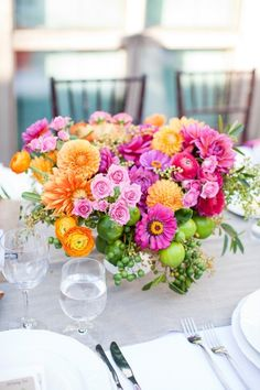 Pretty spring wedding centerpiece.
