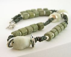 necklace raw aquamarine rough silver ceramic by PiaBarileJewelry, $42.00