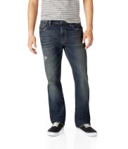 Bowery Slim Straight Destroyed Dark Wash Jean