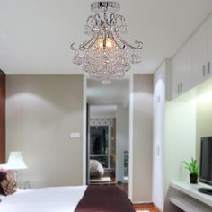 Generous Modern Europe 7 Lights Dome Basket Crystal Chandeliers In Chrome Finish Bedroom Lamp Hall Upscale Atmosphere To Win A High Admiration Lights & Lighting Chandeliers