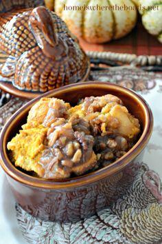 Caramel-Pecan-Pumpkin Bread Pudding