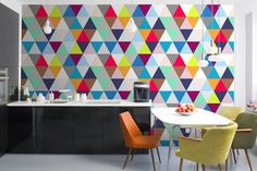 Decoration Coloful Triangle Patterned Wall Mural Design At Modern Kitchen Interior Stunning Cool Geometric Pattern Polished with Various Colors