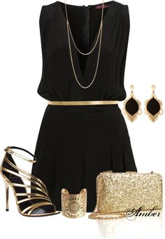 Black and Gold for a night out, New Years outfit in Miami? Maybe not the gaudy jewelry and something more delicate! The necklace is adorable though