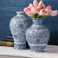 Set of 2 Blue & White Meiping Vases design by Tozai