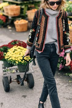 Jess Ann Kirby wearing a Velvet Embroidered Jacket, Autumn Cashmere Turtleneck Sweater and Paige Jeans