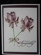 Handmade Sympathy Card Using Stampin Up Lotus Blossom Flowers Baker's Twine