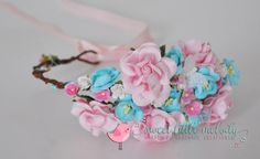 Pink Aqua Flower Crown Pink and Aqua Flower by SweetLittleMelody