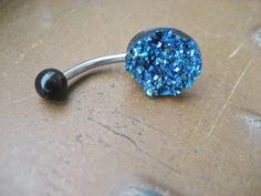 Belly Button Jewelry- Blue Druzy Crystal Cluster Navel Piercing Ring Stud Glitter Glittery Rainbow Bar Barbell