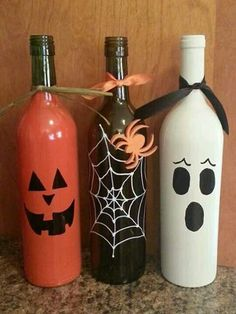 Empty Wine Bottles for Halloween and Christmas Crafts.