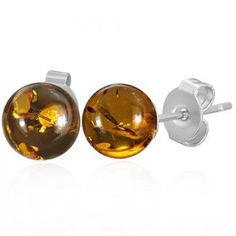 Bling Jewelry Amber Gemstone Ball Stud Earrings Stainless Steel 8mm
