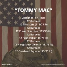 Tommy Mac WOD 2 Rounds For Time 12 Burpees 12 Thrusters 11575 lbs 12 Burpees 12 Power Snatch 11575 lbs 12 Burpees 12 Push Jerks 11575 lbs 12 Burpees 12 Hang Squat Clean. Crossfit Workouts At Home, Wod Workout, Insanity Workout, Travel Workout, Workout Humor, Workout Fitness, Military Workout, I Work Out, Workout Programs