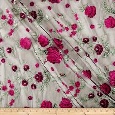 Telio Amor Embroidery Rose Lace Black/Hot Pink from @fabricdotcom  This lovely mesh fabric features an embroidered, floral face and 10% four-way stretch. The embroidery features a slight sheen and is perfect for overlays on special occasion garments, appliques, table top, decorations and more. Colors include black, pink and green.