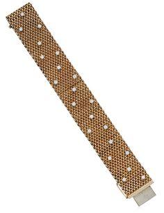 Ruser rose gold and diamond mesh bracelet