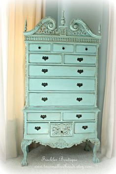 Cottage shabby style painted highboy dresser by twosmallredheads