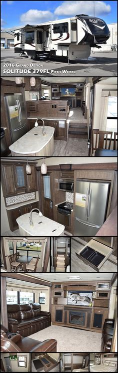 This 2016 Grand Design Solitude 379FL fifth wheel features a terrific front living space ideal for entertaining, a rear bedroom with private entry and FIVE slides for extra interior space. This RV seems to have it all. Traveling will feel as though you took your whole house with you!