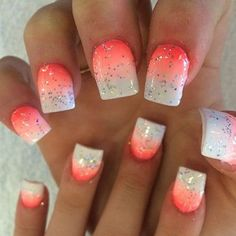 Gradient nails are always the best in making a statement. Check out this salmon and white gradient coats topped with sparkles. It looks very cool and awesome and can match with your summer outfits. When you want to look out of this world and fun to be with, this is the nail design to don.