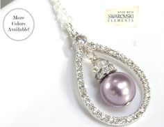 Pearl Bridal Necklace  Teardrop Wedding Pendant  by LizardiBridal, $59.00