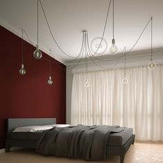 Spider, multiple suspension with 7 pendants, white metal, Grey cable, Made in Italy. Decor, Interior, Home, Multi Light Pendant, Swag Chandelier, Pendant Light, Chandelier, Room Lights, Pendant Lighting Bedroom