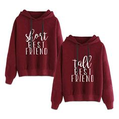 Best Friends Hoodies for 2 Girls BFF Jumper Matching Sweaters for Bestfriends (Red,Short-S+Tall-M) Best Friend Matching Shirts, Matching Hoodies, Best Friend T Shirts, Best Friend Outfits, Matching Sweaters, Best Friend Clothes, Bff Shirts, Best Friend Sweatshirts, Friends Sweatshirt