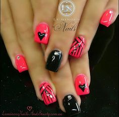 Coral Pink & Black Gel Nails with Hearts & Stripes.