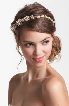 gold and silver elastic bridal headband | gold color headband, vintage style romantic headband, wedding headband ...