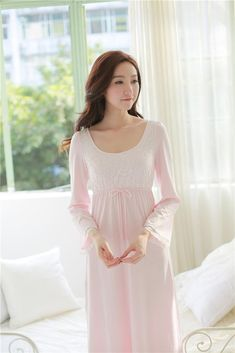 b2e2153cb3 Slim Effect Cotton Night Gown Women Spring. Princess StylePjsNight ...