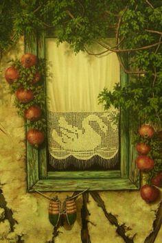 günseli kapucu...oil painting...curtains#flowers#windows#swan#lace