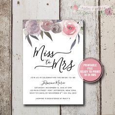 Bridal Shower Invitation Instant Download, Rustic Bridal Shower Invitation, Floral Bridal Invites, Miss to Mrs Shower Invitations, Download by ShadesOfGrace1 on Etsy