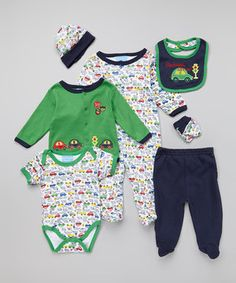 $14.99 by Duck Duck Goose Navy & Green 'Beep Beep' Seven-Piece Layette Set - so much more to choose from