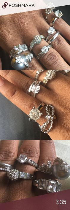 Costume jewelry. Silver, cubic zirconia Each ring original price varies between $11-$60. If you want to buy them all (7 altogether) $35. Or $5 individually (you'd have to tell me which one) Jewelry Rings