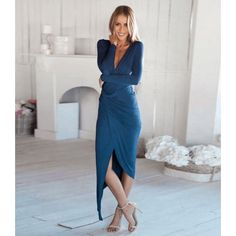 Crisscross Midi Dress Elegant asymmetrical dress with a real deep V neck. Wear to any fancy occasion to make a statement. Made of a cotton blend Dresses Asymmetrical