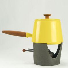Vintage Yellow Copco Enamel Fondue Pot with Teak Wood Handles and Cast Iron Burner Stand | Mid Century Modern Enamelware Fondue Pot