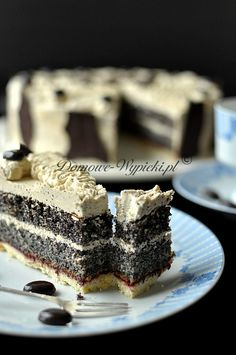 Poppy seed cake with a mass of coffee Polish Cake Recipe, Polish Recipes, Sweet Recipes, Cake Recipes, Sweet Pie, Pavlova, Cake Cookies, Baked Goods, Food To Make