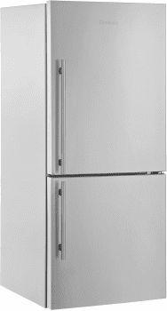Blomberg BRFB1822SSN 30 Inch Counter Depth Bottom-Freezer Refrigerator with Dual Evaporators, Antibacterial Interior, Fast Freeze, Wine Rack, 2 Glass Shelves, Tall Bottle Door Bins, ENERGY STAR and 17.8 cu. ft. Capacity: With Ice Maker, Right Hand Door Swing