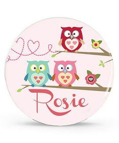 Take a look at this Pink Owl Personalized Plate by Avery & Ethan on #zulily today!