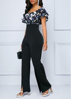 Bottoms For Women Cool Outfits, Fashion Outfits, Fashion Ideas, Dress Fashion, Women's Fashion, Printed Jumpsuit, Black Jumpsuit, Split Legs, Lace Pants