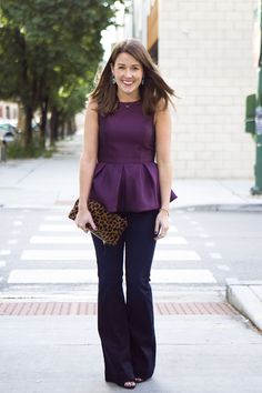 Pleated peplum top and flare pants