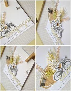 """Mary : Tampons et matrices de coupe (dies) #4enscrap """"A bicyclette"""" Emotions Cards, Tampons, Graphic, Decoration, Paper Crafts, Gift Wrapping, Scrapbook, Tags, Simple"""