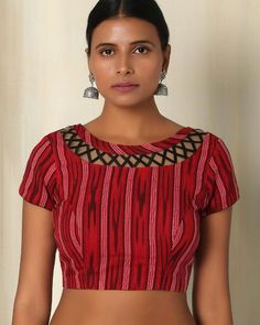 Buy Red The Blouse Factory Cotton Ikat Blouse   AJIO