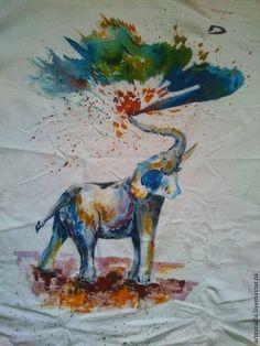 Авторская ручная роспись футболки `Слон`