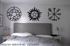 Supernatural Inspired Warding Protection Sigils Tattoo Wall Art Decal