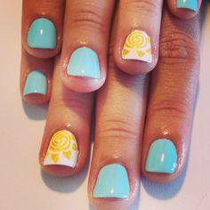 """I've got sunshine on a cloudy day"" sunny nail art. A little sunshine in my nails"