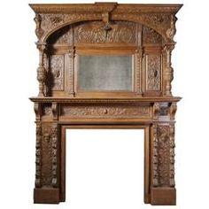 Carved Jacobean Oak Mantel