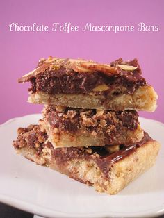 Chocolate Toffee Mascarpone Bars, a rich and unique dessert.