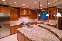 Attractive Traditional Medium Wood (Golden) Kitchen Cabinets #09 (Kitchen Design Ideas